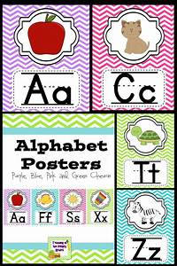 alphabet posters classroom decor purple blue pink and With abc letters for classroom