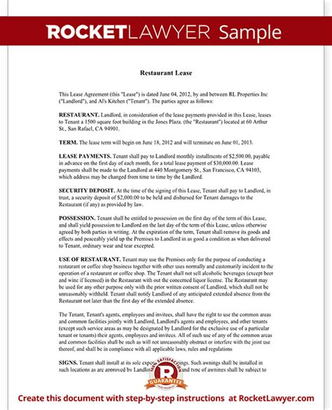restaurant lease agreement template lease form  sample
