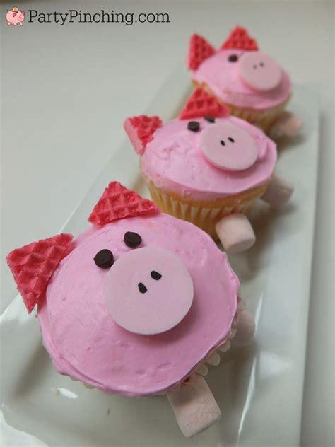 cute pig cupcakes easy    pink wafer cookies fun