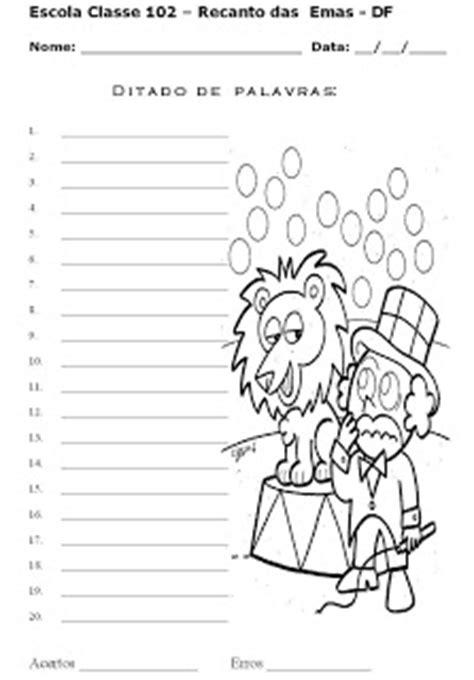 recanto de atividades escolares modelos de atividade de ditado de palavras e frases
