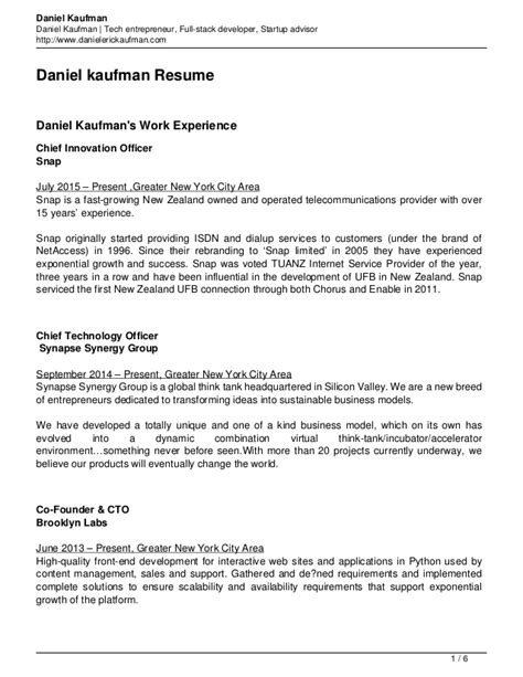 Stack Developer Resume Objective by Daniel Kaufman Resume