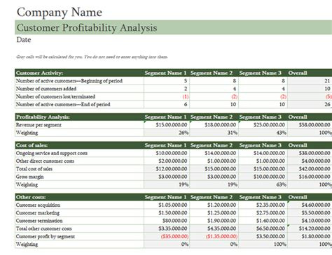 Client Analysis Template Customer Profitability Analysis