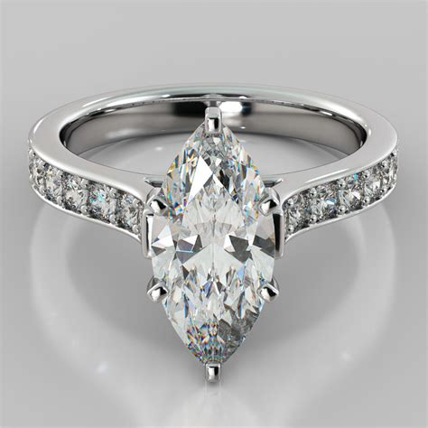 marquise cut cathedral engagement ring 14k white gold matching band available ebay