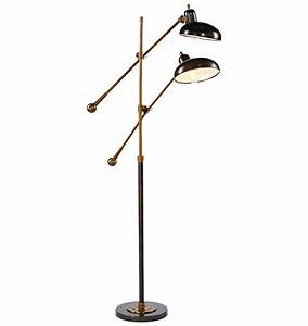 Double armed jielde french industrial floor reading lamp for Double floor lamp reading