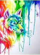 Rainbow Wolf Commission by Lucky978 on DeviantArt  Colorful Wolf Painting