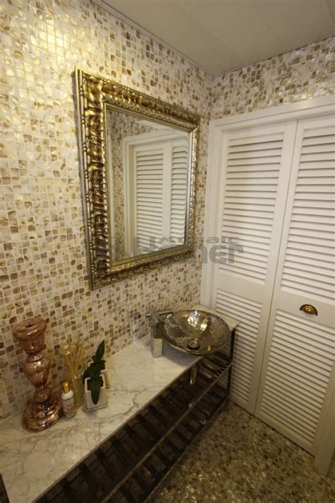 Cheap Tiles For Bathroom Walls by Of Pearl Mosaic Luxury Golden Capiz Tiles Mesh
