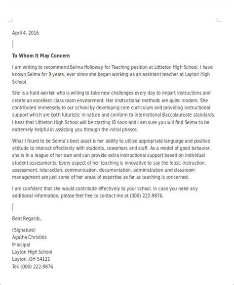 sample teaching position recommendation letter
