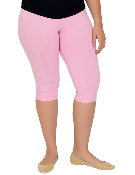 stretch is comfort plus size circuit knee length leggings xx large light pink