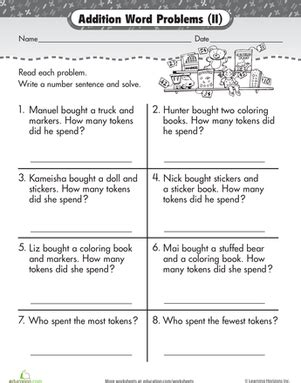 1st grade math worksheet addition word problems wordy word problems addition 2 worksheet education
