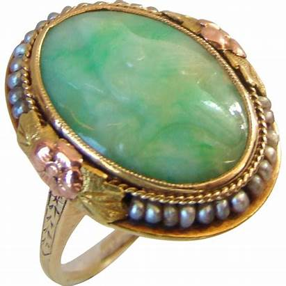 Jade Antique Carved Chinese Ring Seed Pearls