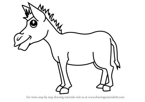 learn   draw  cartoon donkey cartoon animals step