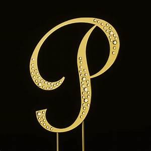 sparkle swarovski crystal wedding cake topper gold With gold letter p