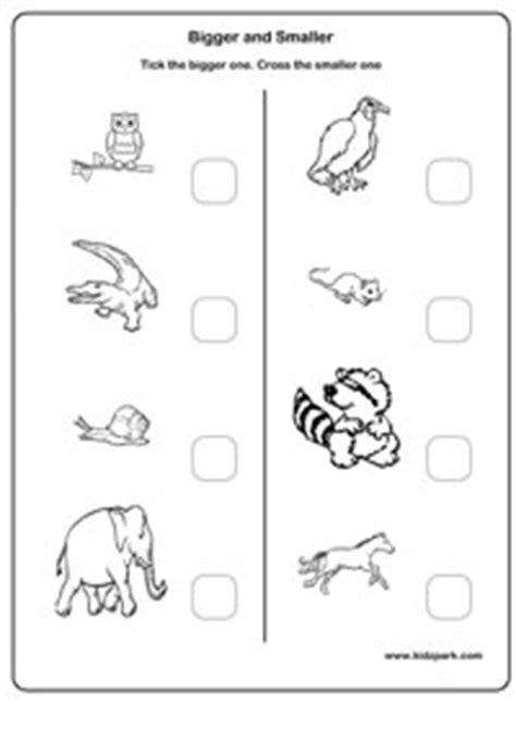 bigger  smaller worksheets comparison worksheets