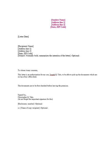 sle of authorization letter 46 authorization letter sles templates template lab