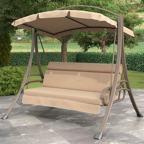Patio Swing by 3 Person Outdoor Porch Swing With Canopy In Beige
