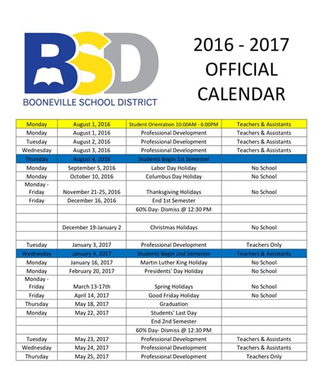 school calendar booneville middle school