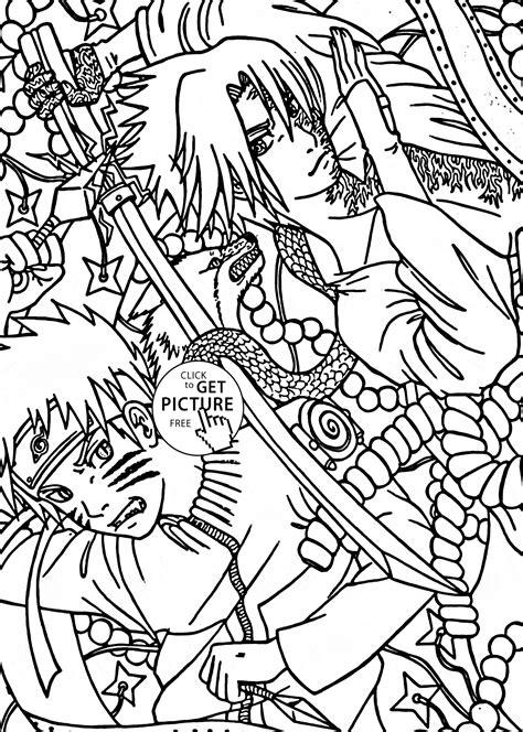 naruto  sasuke anime coloring page  kids manga anime