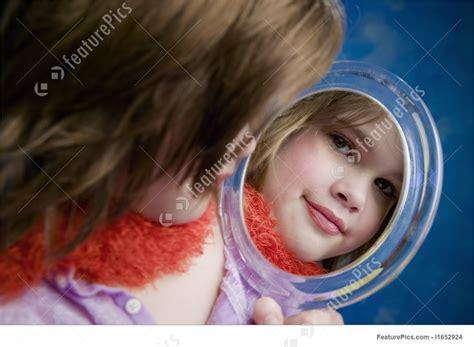 girl   mirror stock image