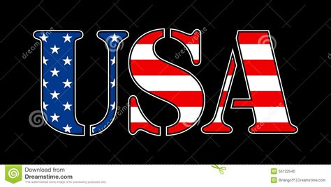 Letter Usa by Usa Flag Text Stock Vector Illustration Of America Sign