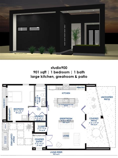 Large 2 Bedroom House Plans by This Modern Small House Plan Offers One Bedroom One Bath