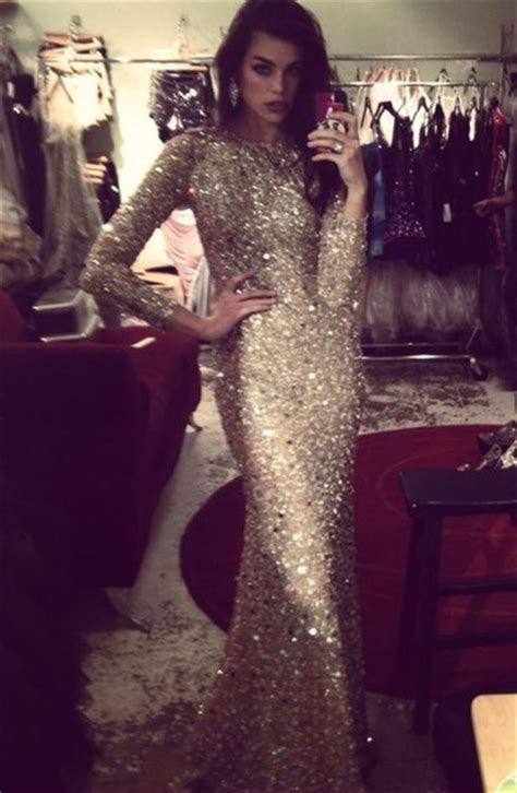 Dress Formal Prom Sparkle Glitter Model Long Long Sleeves Jewels Promdress Gold Sexy