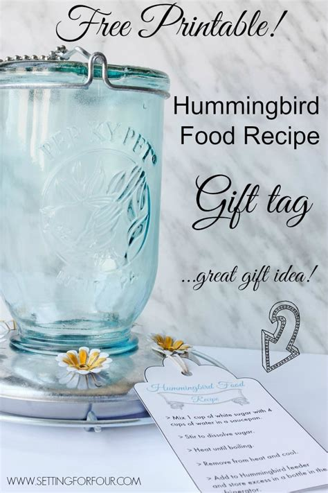 free printable hummingbird food recipe gift tag