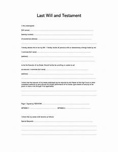 Download A Will Template Free Last Will And Testament Forms And Templates Word Pdf