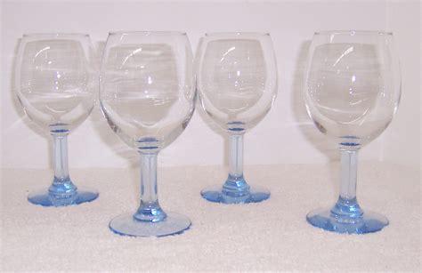 blue light glasses clear 4 light blue stemmed clear glass goblets triple a resale