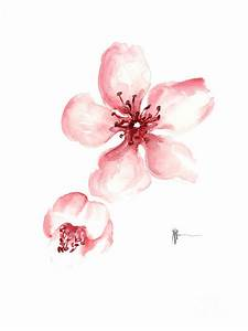 Sakura Watercolor Art Print Painting Painting by Joanna