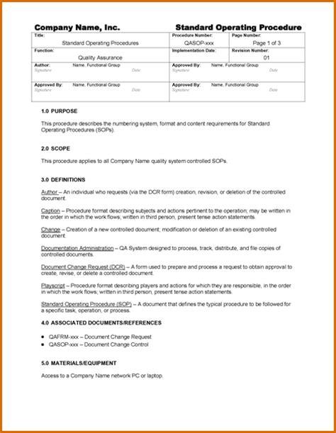 5 standard operating procedures template