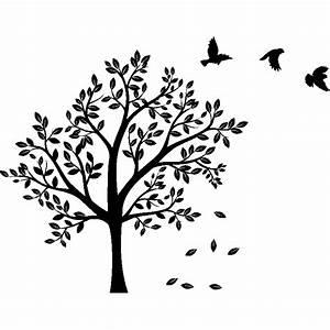 Stickers Arbre Noir : sticker arbre et ses 3 oiseaux stickers nature arbres ambiance sticker ~ Teatrodelosmanantiales.com Idées de Décoration