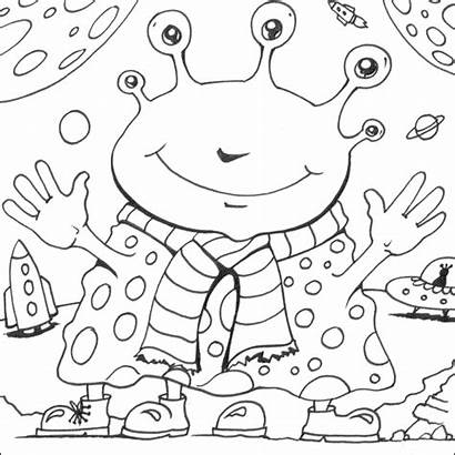 Alien Coloring Space Colouring Aliens Printable