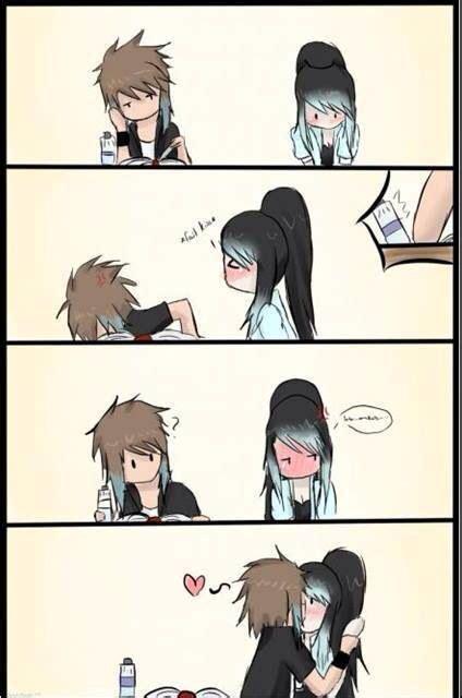 anime cute girl kawaii kiss love actual anime