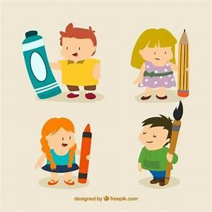 Los niños artísticos agradables en estilo de dibujos animados Descargar Vectores gratis