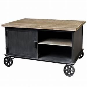 Table De Salon Industrielle : table basse table de salon fer metal bois roulettes industriel campagne 104x6 ebay ~ Teatrodelosmanantiales.com Idées de Décoration
