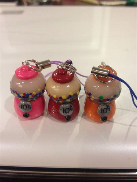 polymer clay charms gum gumball machines set of 3