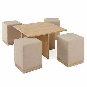 Table Basse 4 Poufs : table basse en panneaux de particules et 4 poufs en tissu beige dya ~ Teatrodelosmanantiales.com Idées de Décoration
