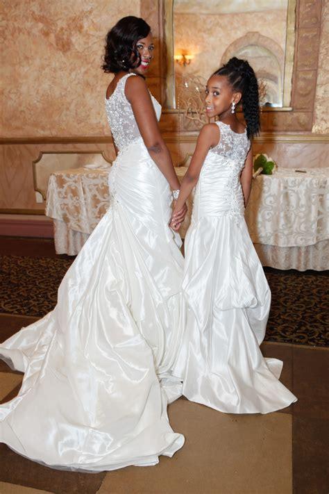 brides dress  matching flower girl dress