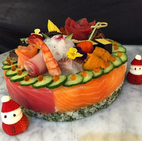 chef morimoto created  christmas sushi cake viewing nyc