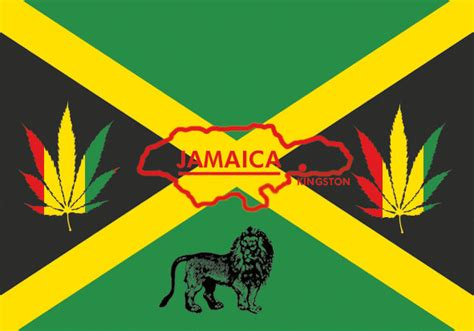 Jamaica Flag w. Lion and Rasta Leaf