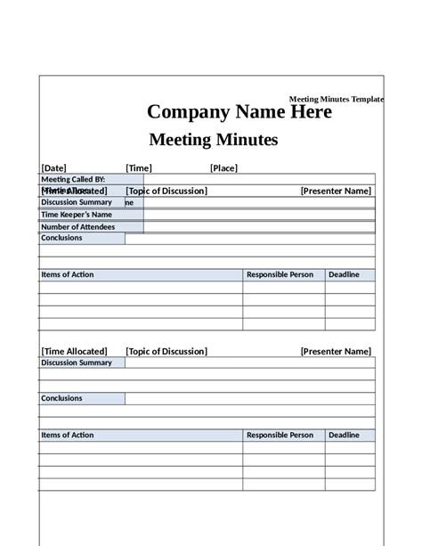 meeting minutes template fillable printable