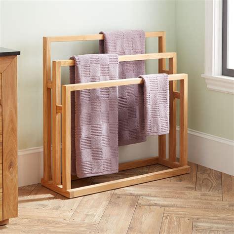 antioch freestanding teak towel rack bathroom