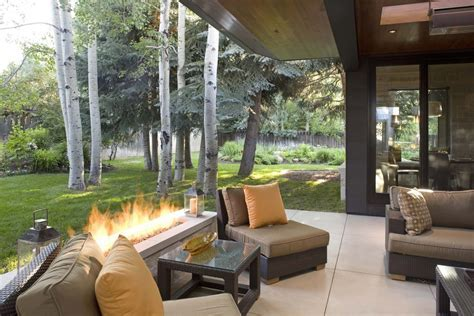 rectangle fire pit Patio Contemporary with concrete fire