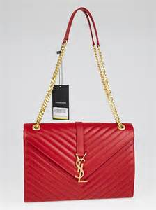 yves saint laurent red chevron quilted leather large