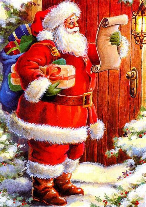 Animated Santa Wallpaper - antique santa postcards and vintage illustrations