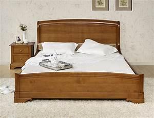 Lit En Bois Massif : lit 160x200 en merisier massif de style louis philippe meuble en merisier massif ~ Teatrodelosmanantiales.com Idées de Décoration