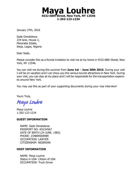 Invitation Letter for US visa | Business Professionalism