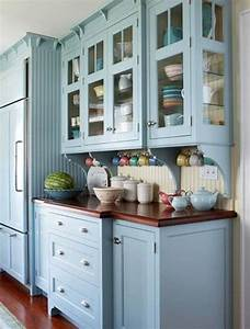 25 idees de cuisine bleue paperblog With kitchen cabinets lowes with papier peint mosaique