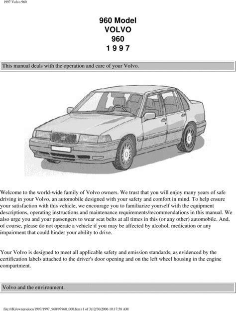 [1997 Volvo 960 Owners Manual Fuses] - 1992 1997 Volvo 960