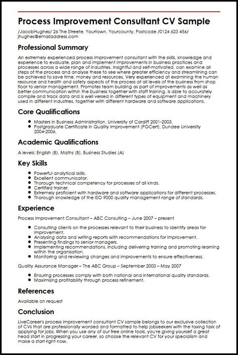 process improvement consultant cv sle myperfectcv